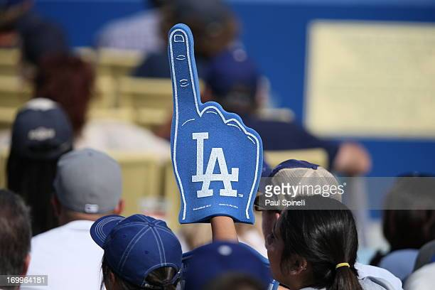 Los Angeles Dodgers fan holds up a foam finger during the game against the Pittsburgh Pirates on April 7 2013 at Dodger Stadium in Los Angeles...