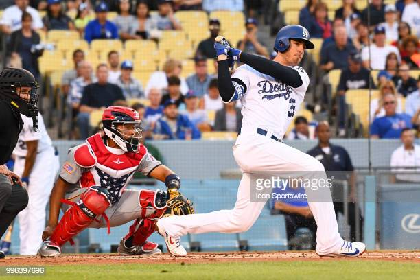 Los Angeles Dodgers first baseman Cody Bellinger takes a swing during a MLB game between the Pittsburgh Pirates and the Los Angeles Dodgers on July 3...