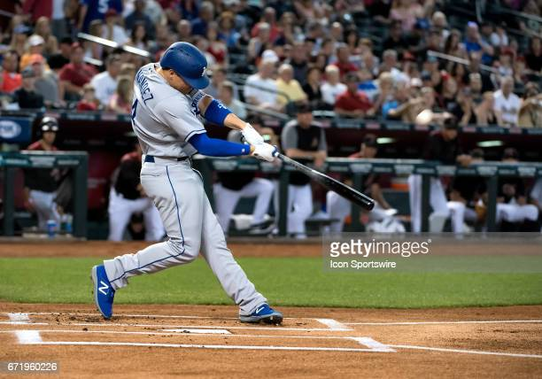 Los Angeles Dodgers infielder Enrique Hernandez smashes a solo first inning home run during the MLB baseball game between the Dodgers and the Arizona...