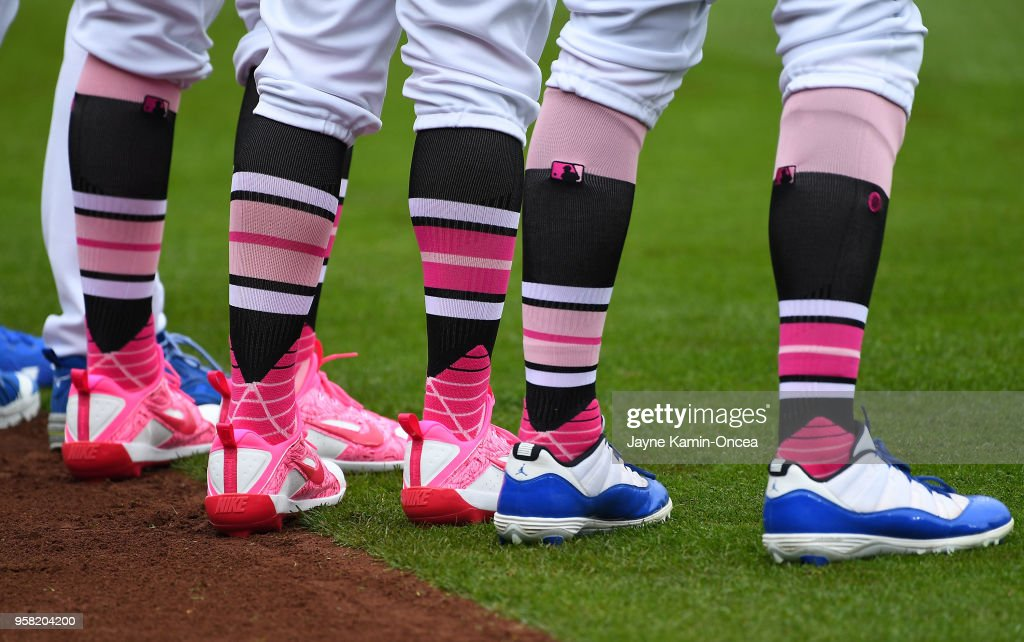 Los Angeles Dodgers line up for the National Anthem before the game against the Cincinnati Reds at Dodger Stadium on May 13, 2018 in Los Angeles, California.