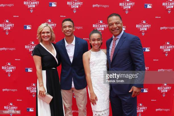 Los Angeles Dodgers manager Dave Roberts attends the 89th MLB AllStar Game presented by MasterCard red carpet with guests at Nationals Park on July...