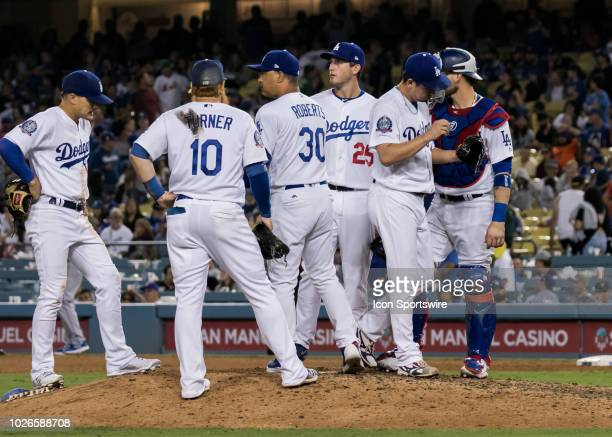 Los Angeles Dodgers manager Dave Roberts pulls Los Angeles Dodgers pitcher Kenta Maeda after giving up a 3run home run in the top of the 9th inning...