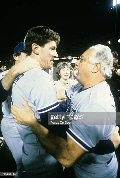 Los Angeles Dodgers Manager Tommy Lasorda hugs picher Orel Hershiser after the Dodger beat the Oakland Athletics in game 5 of the World Series...