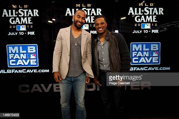 Los Angeles Dodgers Matt Kemp and New York Yankees Robinson Cano pose during the MLB AllStar LeadOff Event June 5 2012 at the MLB Fan Cave Broadway...