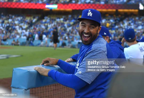 Los Angeles Dodgers' Matt Kemp has some laughs on the bench during game 1 of the the NLDS in Los Angeles on Thursday Oct 4 2018