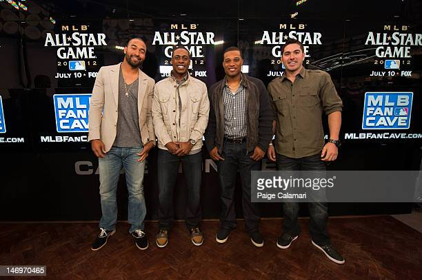 Los Angeles Dodgers Matt Kemp New York Yankees Curtis Granderson and Robinson Cano and Tampa Bay Rays Matt Joyce pose during the MLB AllStar LeadOff...