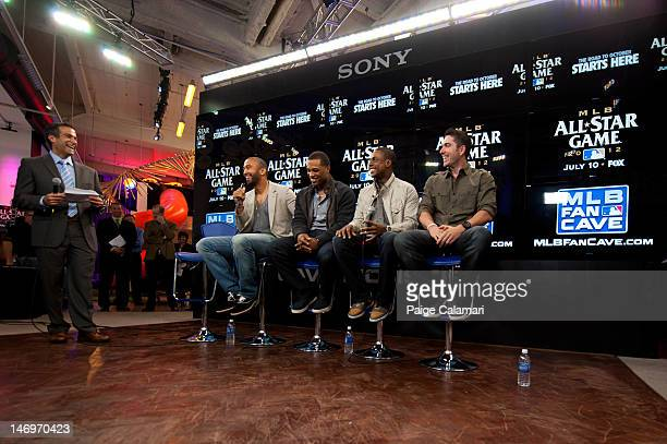 Los Angeles Dodgers Matt Kemp New York Yankees Robinson Cano and Curtis Granderson and Tampa Bay Rays Matt Joyce are interviewed during the MLB...