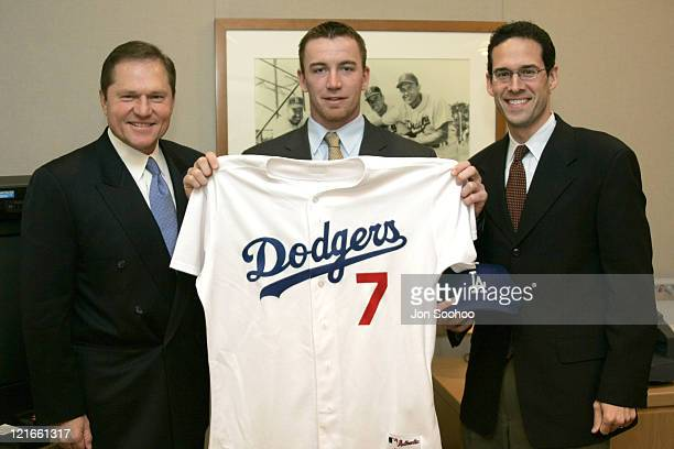 Los Angeles Dodgers' newest acquisition JD Drew with agent Scott Boras and Dodgers General Manager Paul Depodesta prior to press conference held...