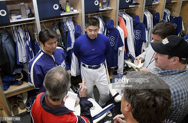 Los Angeles Dodgers Norihiro Nakamura of Japan speaks to the media prior to workout at Dodgertown in Vero Beach Florida on Wednesday March 2 2005