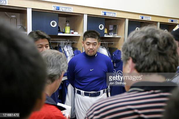 Los Angeles Dodgers' Norihiro Nakamura of Japan speaks to the media prior to workout at Dodgertown in Vero Beach Florida on Wednesday March 2 2005