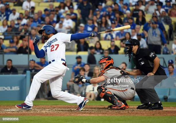 Los Angeles Dodgers Outfield Matt Kemp follows through after connecting for a single in the 9th inning during the MLB opening day game between the...