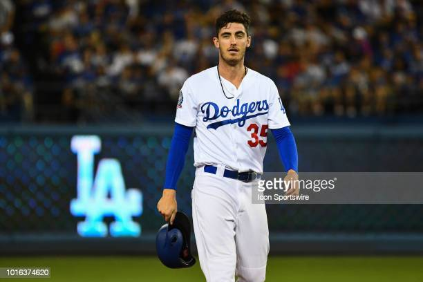 Los Angeles Dodgers outfielder Cody Bellinger looks on during a MLB game between the San Francisco Giants and the Los Angeles Dodgers on August 13...