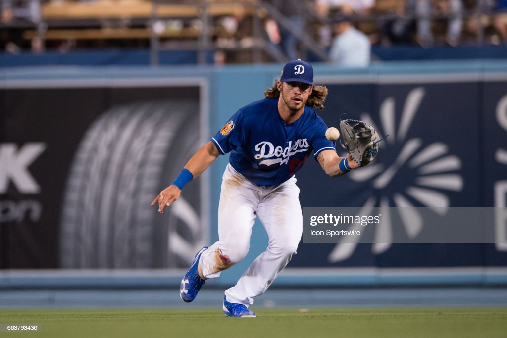 Los Angeles Dodgers outfielder DJ Peters (94) during the game between the Los Angeles Angels and the Los Angeles Dodgers on April 01, 2017, at Dodger Stadium in Los Angeles, CA.