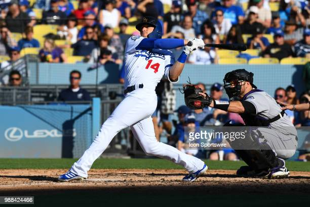 Los Angeles Dodgers outfielder Enrique Hernandez hits a solo home run during a MLB game between the Colorado Rockies and the Los Angeles Dodgers on...