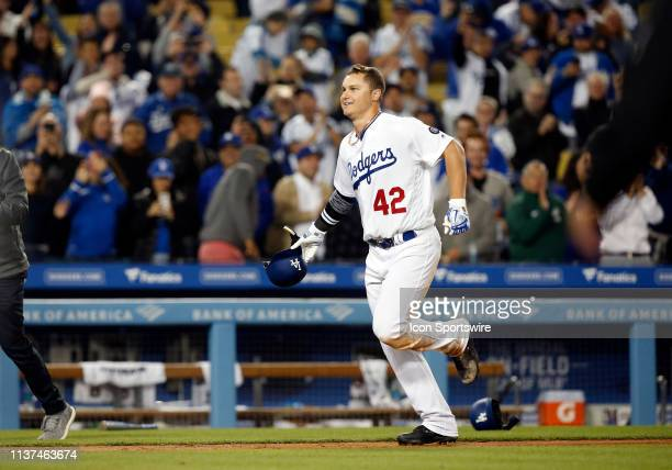 Los Angeles Dodgers outfielder Joc Pederson celebrates after hitting a walk off home run during the game against the Cincinnati Reds on April 15 at...