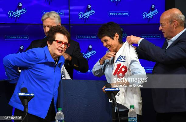 Los Angeles Dodgers Owner and Chairman Mark Walter and Dodgers President CEO Stan Kasten introduce partners Billie Jean King and Ilana Kloss as...