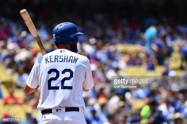 Los Angeles Dodgers pitcher Clayton Kershaw at bat during a MLB game between the Los Angeles Angels of Anaheim and the Los Angeles Dodgers on July 15...