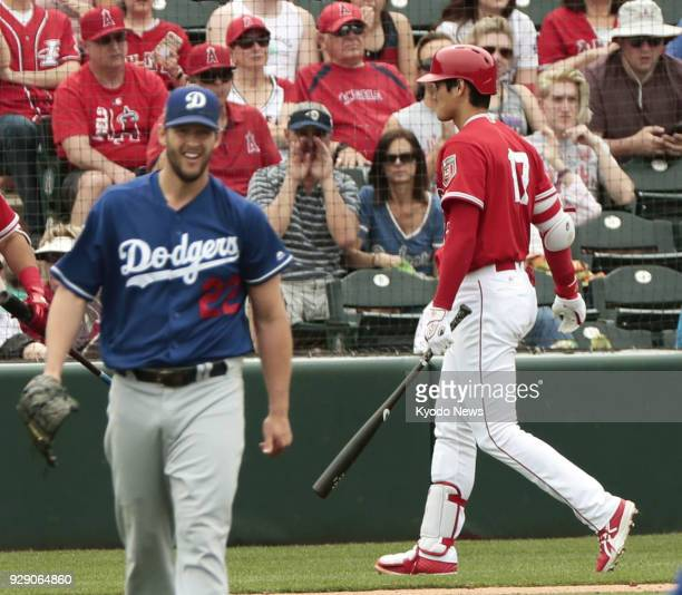 Los Angeles Dodgers pitcher Clayton Kershaw is pictured after striking out Shohei Ohtani of the Los Angeles Angels in the third inning of a spring...