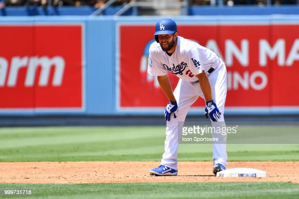 Los Angeles Dodgers pitcher Clayton Kershaw stands on second after driving in a run during a MLB game between the Los Angeles Angels of Anaheim and...