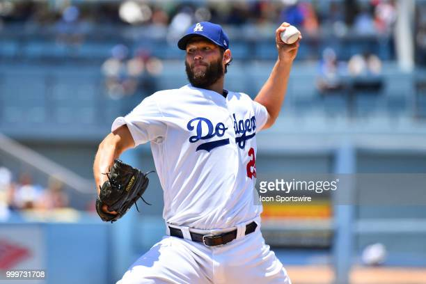 Los Angeles Dodgers pitcher Clayton Kershaw throws a pitch during a MLB game between the Los Angeles Angels of Anaheim and the Los Angeles Dodgers on...