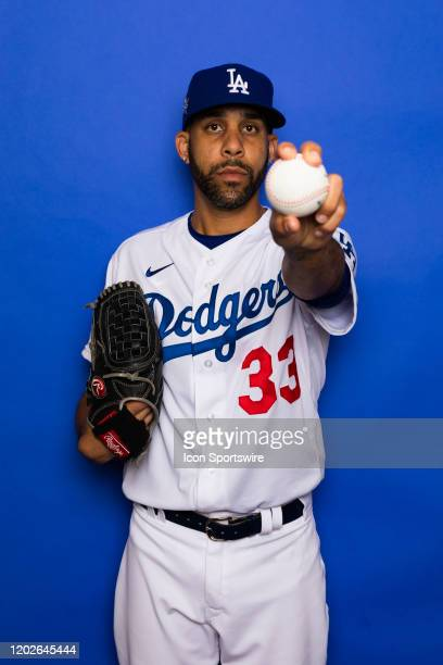 Los Angeles Dodgers pitcher David Price poses for a portrait during photo day on Thursday, Feb, 20 at Camelback Ranch in Glendale, Ariz.