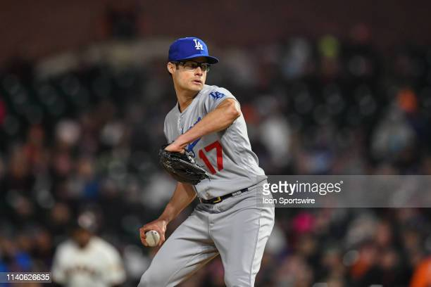 Los Angeles Dodgers Pitcher Joe Kelly pitching during the Los Angeles Dodgers and San Francisco Giants game on April 29 2019 at Oracle Park in San...
