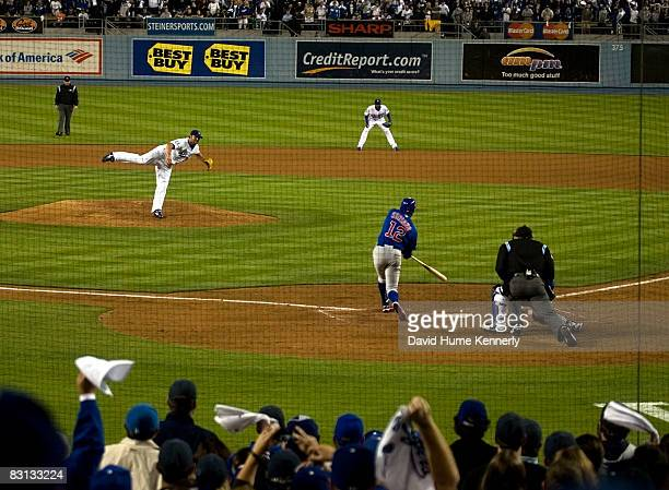 Los Angeles Dodgers pitcher Jonathan Broxton #51 rings up the final out by striking out the Chicago Cubs' Alfonso Soriano #12 Broxton got the save by...