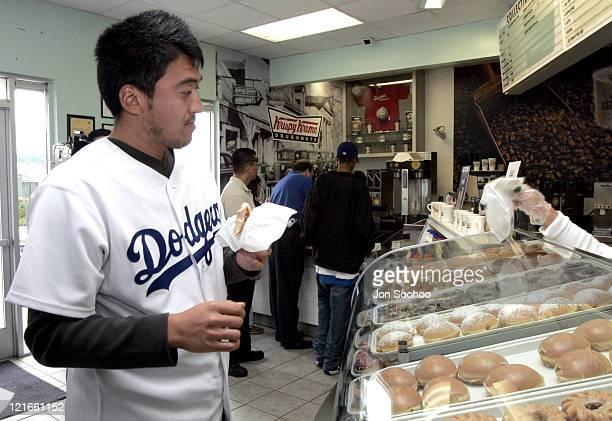 Los Angeles Dodgers pitcher Kazuhisa Ishii during the Dodgers caravan stops at Krispy Kreme in Los Angeles California Monday February 7 2005