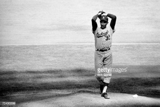 Los Angeles Dodgers pitcher Sandy Koufax in action against the New York Yankees during the first game of the 1963 World Series.