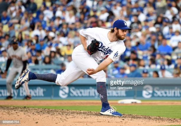 Los Angeles Dodgers Pitcher Tony Cingrani throws a pitch in the 9th inning during the MLB opening day game between the San Francisco Giants and the...
