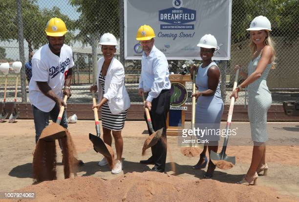 Los Angeles Dodgers player Yasiel Puig Renata Simril President and CEO LA84 Foundation Mike Shull General Manager City of Los Angeles Recreation and...
