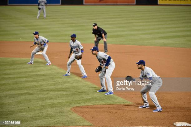 Los Angeles Dodgers players line up using an extreme infield shift as Seth Smith of the San Diego Padres comes up to bat during the twelfth inning of...