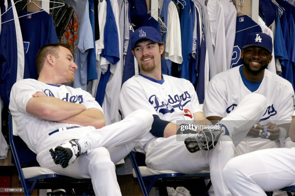 Los Angeles Dodgers projected starting outfielders J.D. Drew (L to R), Jayson Werth and Milton Bradley at the first full squad workout at Dodgertown in Vero Beach, Florida on Thursday, February 24, 2005.