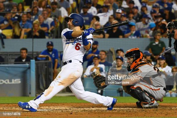 Los Angeles Dodgers second baseman Brian Dozier hits a deep fly ball out to center field during a MLB game between the San Francisco Giants and the...