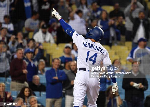 Los Angeles Dodgers second baseman Enrique Hernandez celebrates his first inning home run at Dodger Stadium in Los Angeles on Wednesday, Apr. 3, 2019.