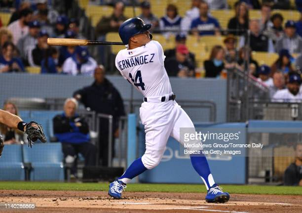 Los Angeles Dodgers second baseman Enrique Hernandez hits a solo home run in the first inning at Dodger Stadium in Los Angeles on Wednesday Apr 3 2019