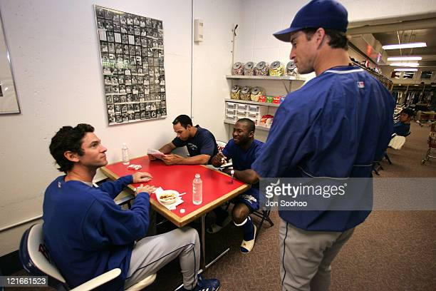 Los Angeles Dodgers Shawn Green with Alex Cora Milton Bradley and Steve Finley after workout at Busch Stadium Monday October 4 2004 in St Louis...