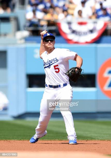 Los Angeles Dodgers Shortstop Corey Seager throws to first during an MLB opening day game between the San Diego Padres and the Los Angeles Dodgers on...
