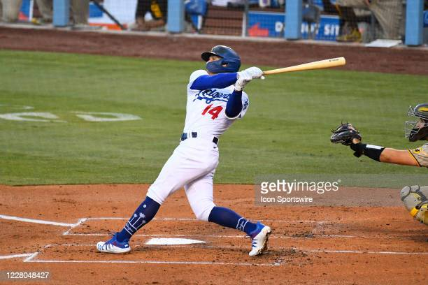 Los Angeles Dodgers shortstop Enrique Hernandez swings at a pitch during a MLB game between the San Diego Padres and the Los Angeles Dodgers on...
