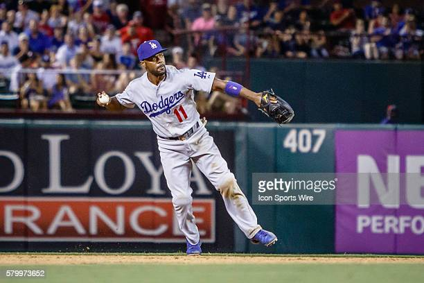 Los Angeles Dodgers Shortstop Jimmy Rollins [2151] fires the ball to 1st during the MLB game between the Los Angeles Dodgers and Texas Rangers played...