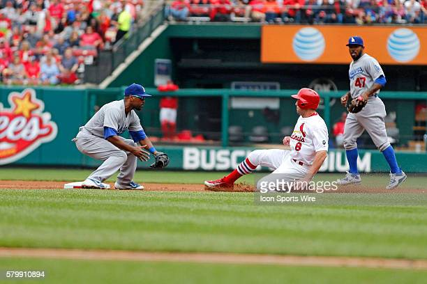 Los Angeles Dodgers shortstop Jimmy Rollins puts the tag on St Louis Cardinals center fielder Peter Bourjos for the out during the game between the...