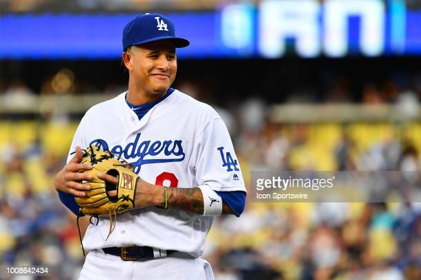 Los Angeles Dodgers shortstop Manny Machado looks on during a MLB game between the Milwaukee Brewers and the Los Angeles Dodgers on July 3 2018 at...