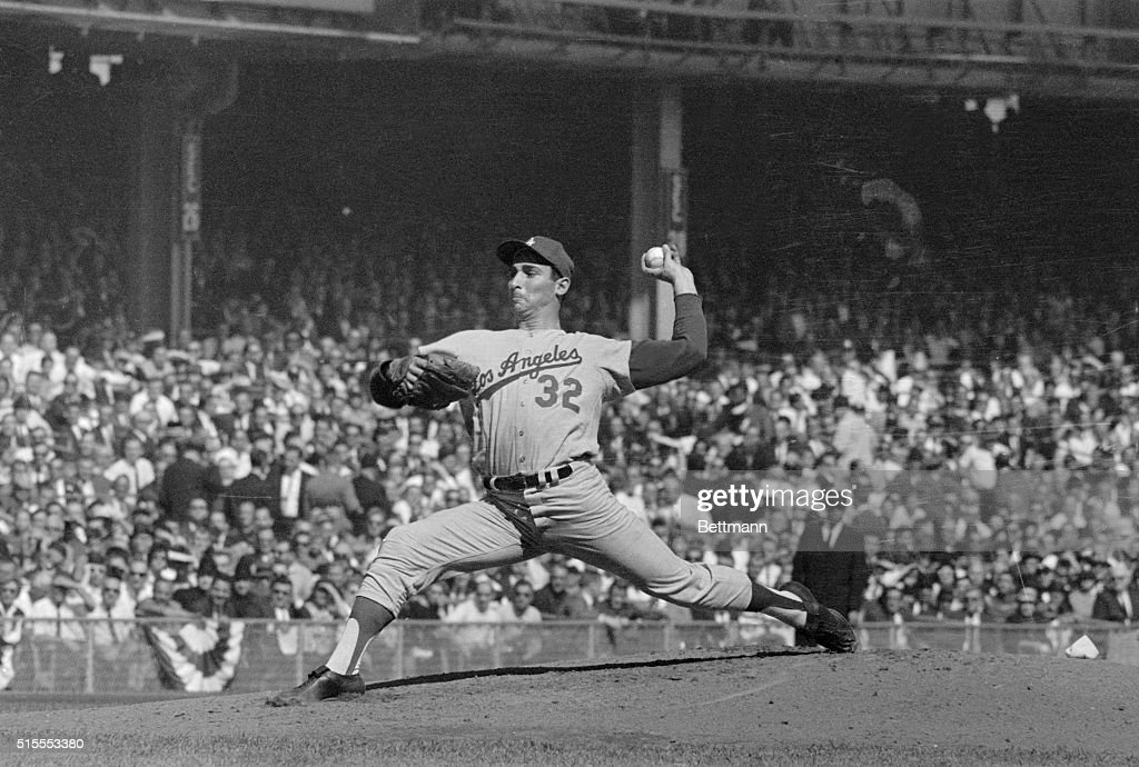 Los Angeles Dodgers star pitcher Sandy Koufax shows his winning form in the first inning of the World Series opener, won by the Dodgers over the New York Yankees 5-2. Koufax struck out the side in the first inning and the first two men in the second, to tie the record for strikeouts at the start of a Series game that the St. Louis Cardinals' Mort Cooper set in 1943. Sandy struck out 15 in the game, to break the old Series record of 14. His ex-teammate Carl Erskine set that one, 10 years before to the day.