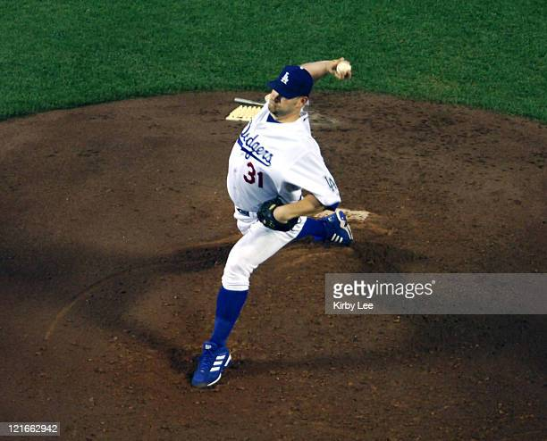 Los Angeles Dodgers starter Brad Penny pitches during 21 loss in 10 innings to the Chicago Cubs at Dodger Stadium in Los Angeles Calif on Tuesday May...