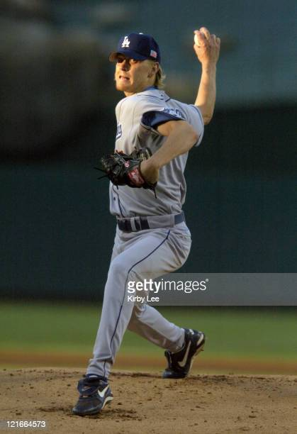 Los Angeles Dodgers starter Jeff Weaver pitches against the Anaheim Angels in the first inning of interleague game at Angel Stadium on Sunday July 4...