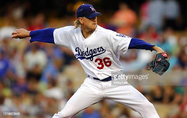 Los Angeles Dodgers starter Jeff Weaver pitches during 7-6 loss to the Cincinnati Reds at Dodger Stadium in Los Angeles, Calif. On Wednesday, July...
