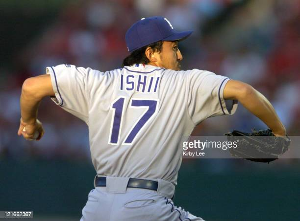 Los Angeles Dodgers starter Kazuhisa Ishii pitches against the Anaheim Angels in the first inning at Angel Stadium on Friday July 2 2004