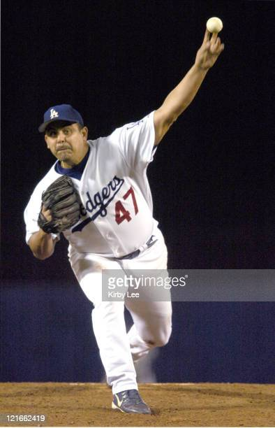 Los Angeles Dodgers starter Wilson Alvarez pitches during 12-2 victory over the San Diego Padres at Dodger Stadium in Los Angeles, CA on Saturday,...