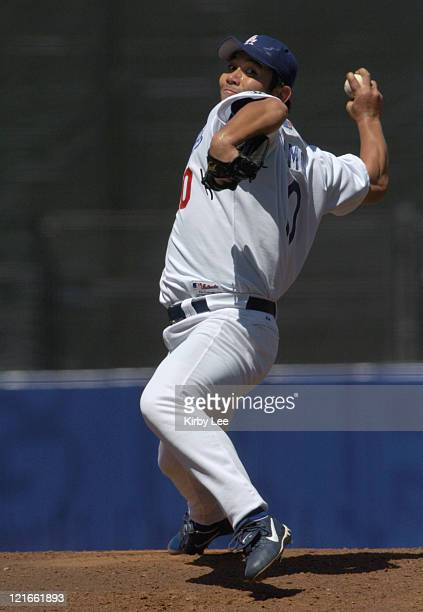 Los Angeles Dodgers starting pitcher Hideo Nomo pitched five innings, allowing seven hits and three runs, during 6-4 loss to the Montreal Expos at...