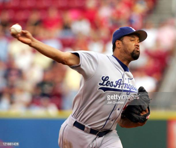 Los Angeles Dodgers starting pitcher Jose Lima pitches against the Cincinnati Reds at Great American Ballpark in Cincinnati Ohio on August 10 2004